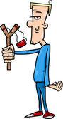 Hooligan with slingshot cartoon illustration — Stock Vector