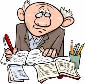 Professor or writer cartoon illustration — Stock Vector