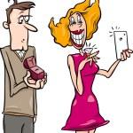 Woman doing proposal selfie cartoon — Stock Vector #52410401