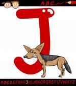 Letter j for jackal cartoon illustration — Stock Vector