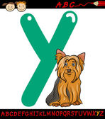 Letter y for yorkshire terrier dog — Stock Vector