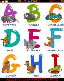 Cartoon english alphabet with animals — Stock Vector