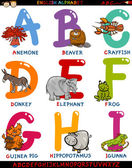 Cartoon english alphabet with animals — Stock Vector