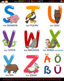 Cartoon german alphabet with animals — Stock Vector