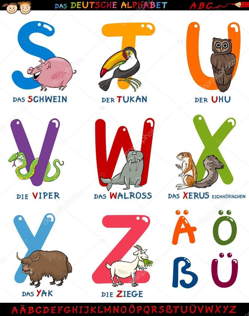 Alphabet allemand de bande dessinée avec des animaux ...