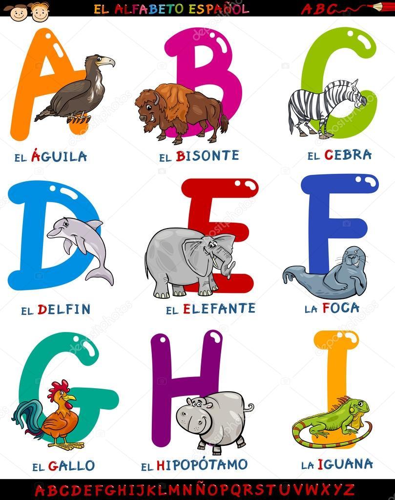 Alfabeto spagnolo del cartone animato con animali