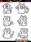 Cats emotion set cartoon coloring book — Stock Vector