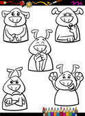 Dog emotion set cartoon coloring book — Stock Vector