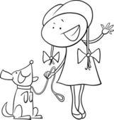 Jolie fille avec chien coloriage — Vecteur