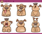 Dog emotions cartoon illustration set — Stock Vector