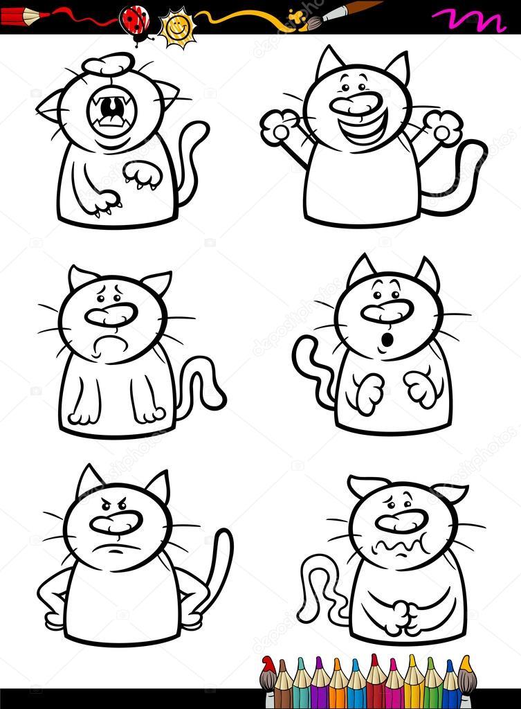 Colorear libro o página de ilustración de dibujos animados de blanco y negro los gatos graciosos expresando emociones fija para los niños\u2014 Vector de