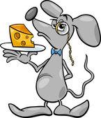 мышка с сыром иллюстрации шаржа — Cтоковый вектор