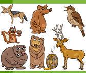 Wild animals cartoon set illustration — Stock Vector