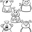 Постер, плакат: Dog emotion set cartoon coloring page