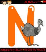 Letter n for nandu cartoon illustration — Stock Vector
