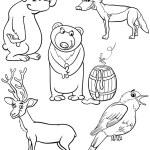 Animals set cartoon coloring page — Stock Vector #53066531