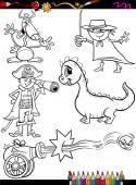Fantasy set cartoon coloring page — Stock Vector