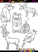 Animals set cartoon coloring page — Vector de stock