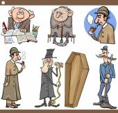 Retro people set cartoon illustration — ストックベクタ