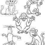 Cartoon monkeys coloring book — Stock Vector #53461855
