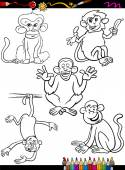 Cartoon monkeys coloring book — Stock Vector