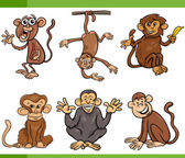 Monkeys cartoon set illustration — Stock Vector