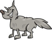 Gray wolf animal cartoon illustration — Stock Vector