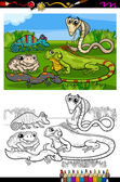 Reptiles and amphibians coloring book — Stock Vector