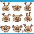 Постер, плакат: Dog emoticons cartoon illustration set