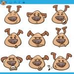 ������, ������: Dog emoticons cartoon illustration set