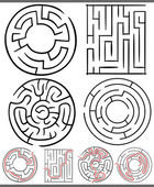 Mazes or labyrinths diagrams set — Stock Vector