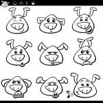 ������, ������: Dog emoticons cartoon coloring page