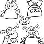 Dog emotion set cartoon coloring page — Stock Vector #53995833