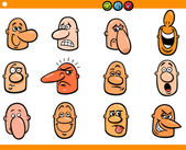 Cartoon people emoticons heads set — Stock Vector
