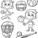 Sport boy set cartoon coloring page — Stock Vector #54795355