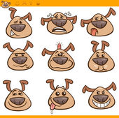 Dog emoticons cartoon illustration set — Stock Vector