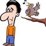 Man and bird cartoon illustration — Stock Vector #54935135