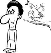 Man and bird cartoon coloring book — Stock Vector