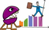 Recession in business cartoon illustration — Stock Vector