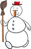 Snowman with besom cartoon illustration — Stock Vector