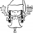 Santa claus girl cartoon coloring page — Stock Vector #55374017