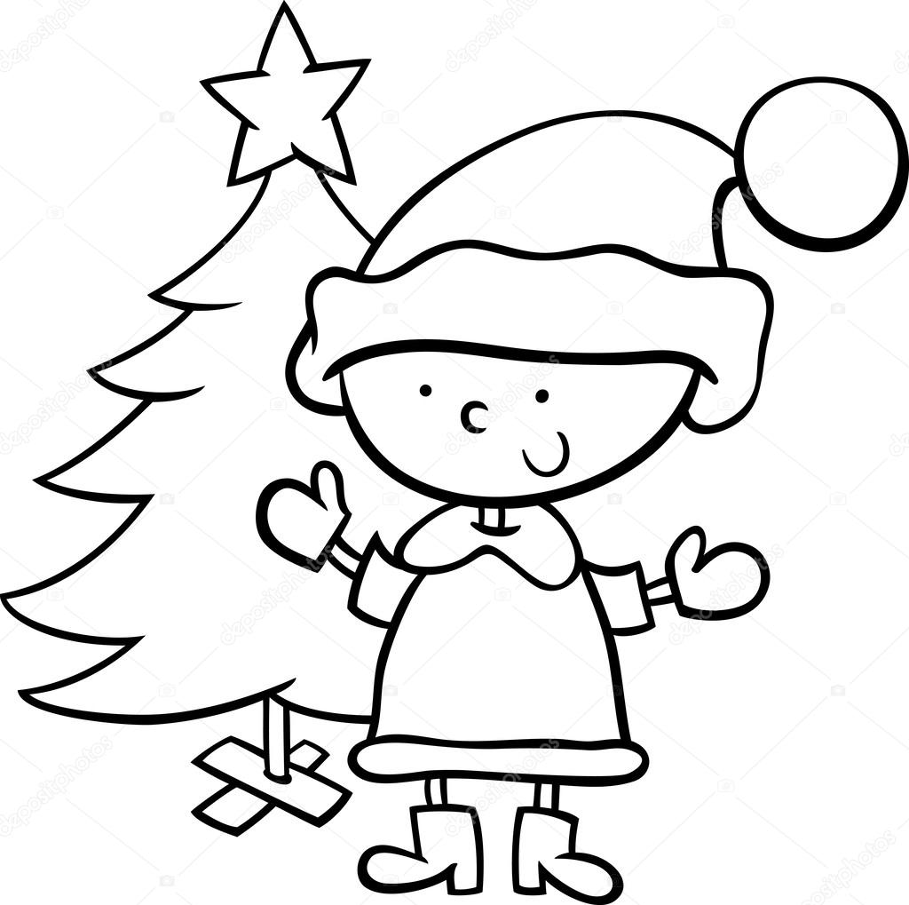 Santa claus boy cartoon coloring page Stock Vector
