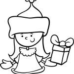 Santa claus girl cartoon coloring page — Stock Vector #55431729