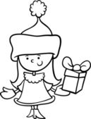Santa claus girl cartoon coloring page — Stock Vector