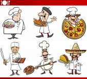 International cuisine chefs cartoons — Stock Vector