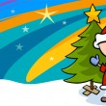 Kid on christmas cartoon greeting card — Stock Vector #55541039