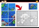 Cartoon aliens jigsaw puzzle game — Stock Vector
