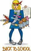Back to school cartoon illustration — Stock Vector