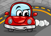 Witzige retro Auto Cartoon Abbildung — Stockvektor
