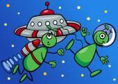 Aliens in space cartoon illustration — Stock Vector